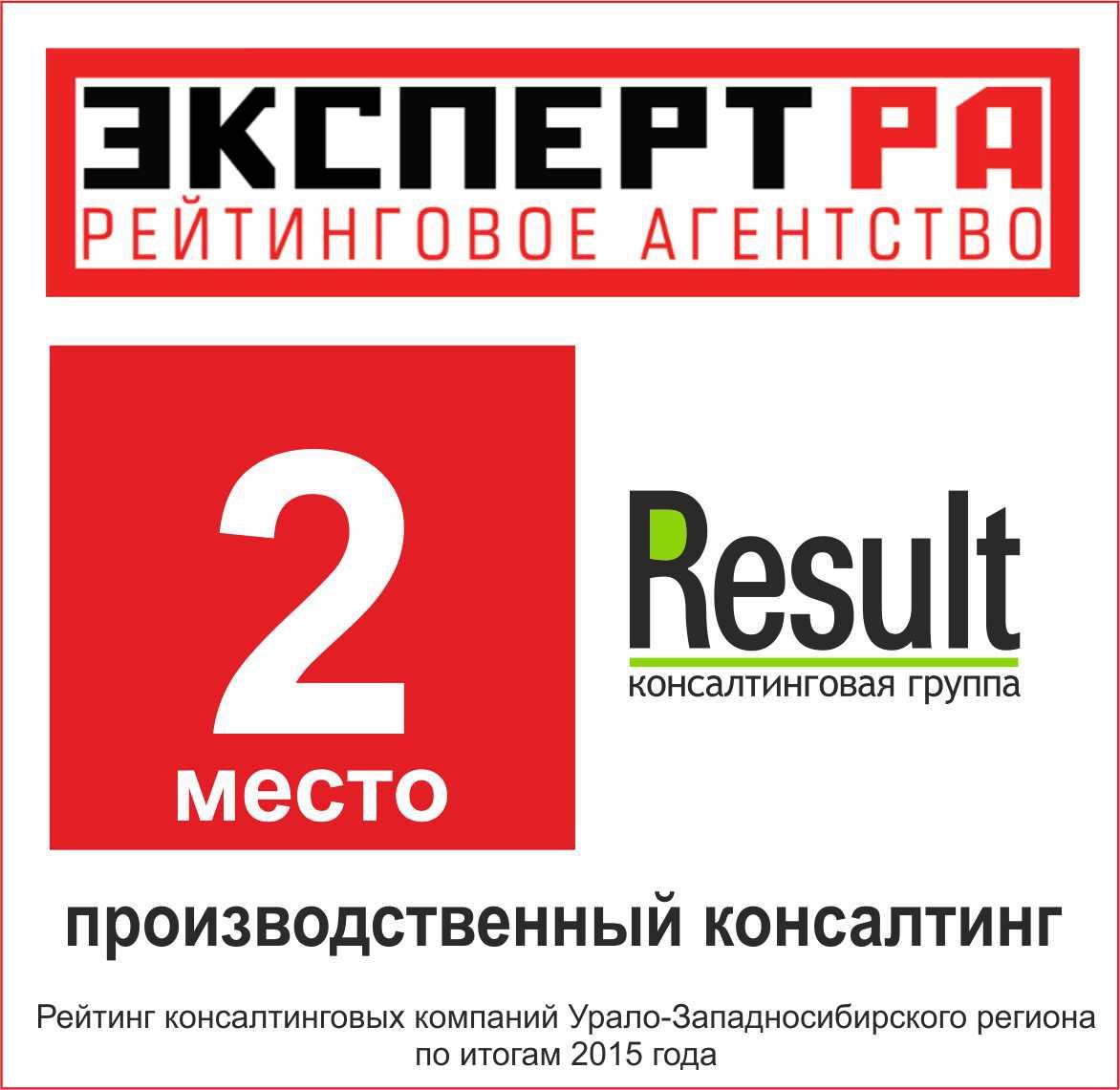 Рейтинг - производственный консалтинг 2015 - Резалт занял 2-е место!