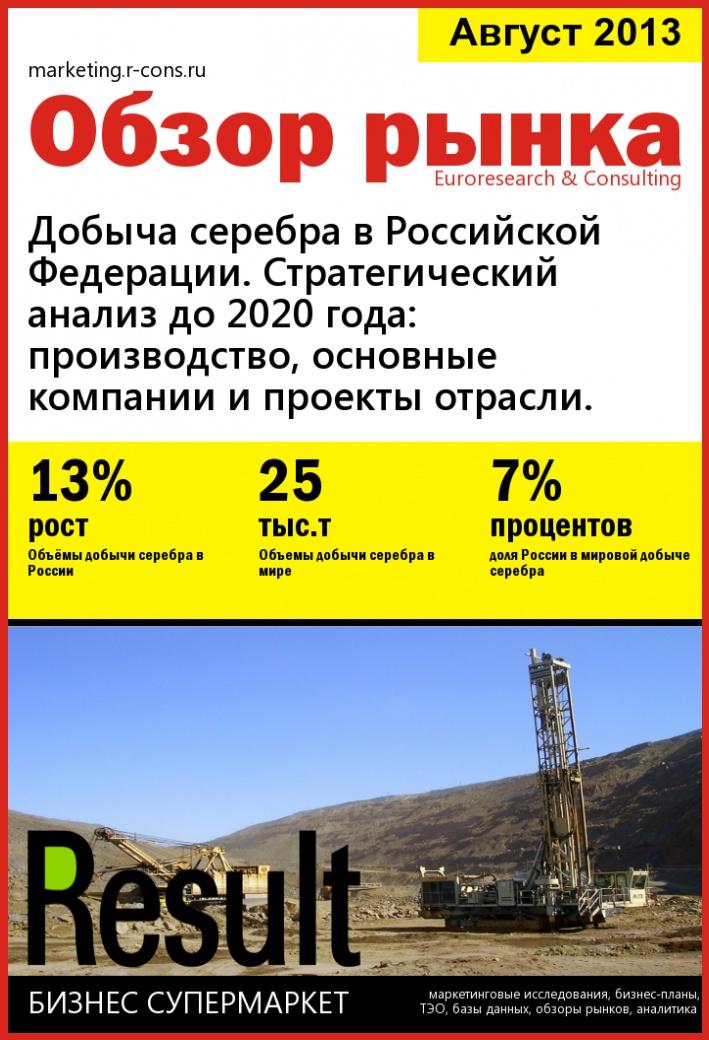 Добыча серебра в Российской Федерации. Стратегический анализ до 2020 года: производство, основные компании и проекты отрасли. style=