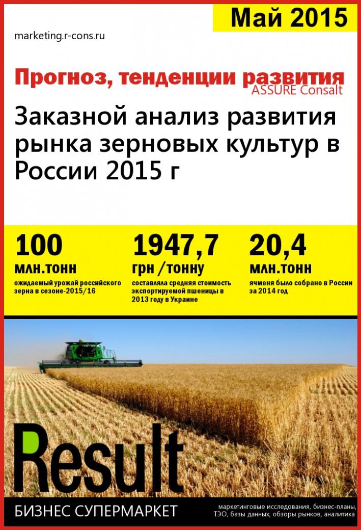 Заказной анализ развития рынка зерновых культур в России 2015 г style=