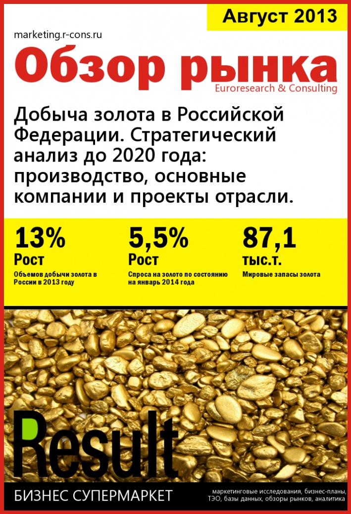 Добыча золота в Российской Федерации. Стратегический анализ до 2020 года: производство, основные компании и проекты отрасли. style=