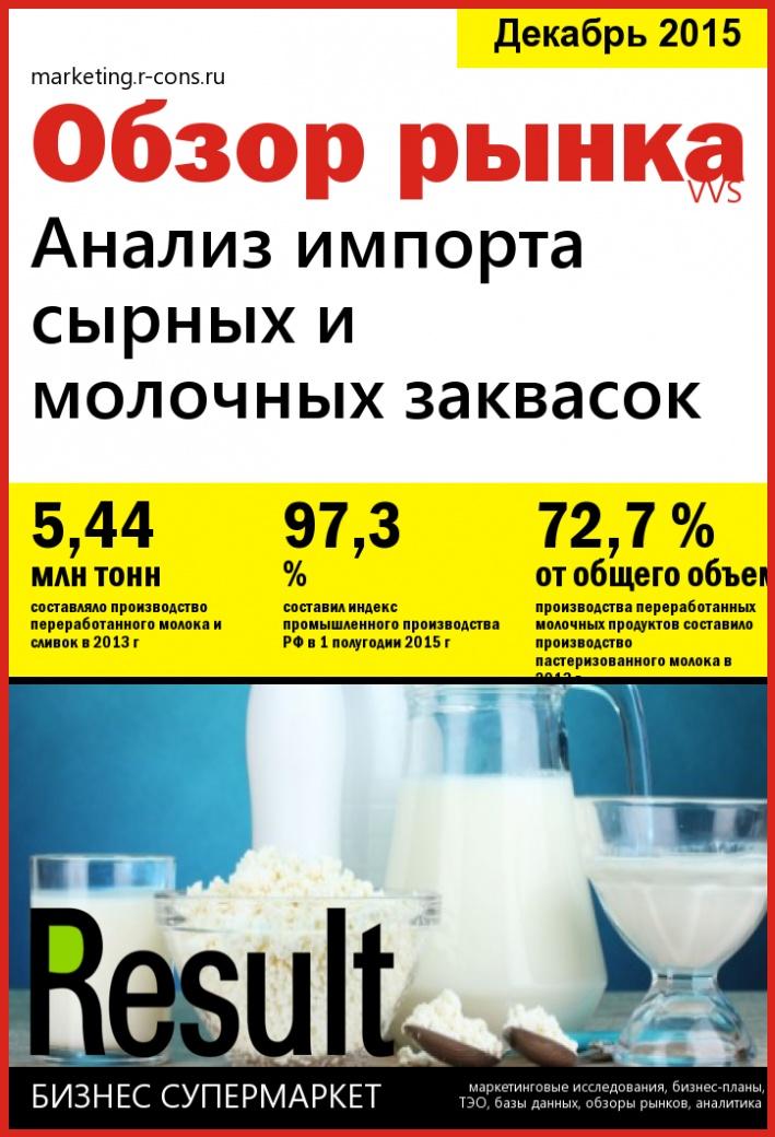 Анализ импорта сырных и молочных заквасок